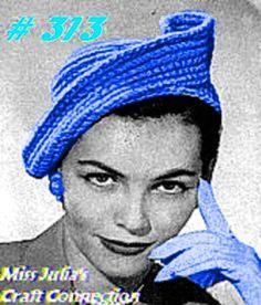 Vintage 1940s Elegant Curlicue Hat 313 PDF Digital Crochet Pattern
