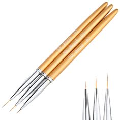 3Pcs Nail Art Lines Painting Pen Brush Set Gel Polish Tips Flower 3D Design Manicure Pedicure Professional Drawing Tool kit Gold