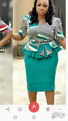 Chic Looking Skirt and Blouse Latest African Fashion Dresses, African Dresses For Women, African Print Dresses, African Print Fashion, African Attire, Office Dresses For Women, African Blouses, African Traditional Dresses, Health
