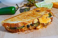 Jalapeño Popper Grilled Cheese Sandwich ~ A jalapeño-popper inspired grilled cheese sandwich with roasted jalapeño peppers, cream cheese, jack & cheddar cheese and crumbled tortilla chips for a bit of crunch.
