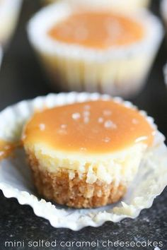 Mini Salted Caramel Cheesecakes - Six Sisters' Stuff | This perfectly smooth, creamy, bite-size cheesecake is the perfect recipe for Easter or spring dessert! #easterdessert #sixsistersrecipes
