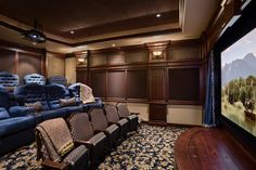 I'm tired of the traditional tiered theatre seating . . . but I do like the idea of using dark navy velvet on at least some of the seating.