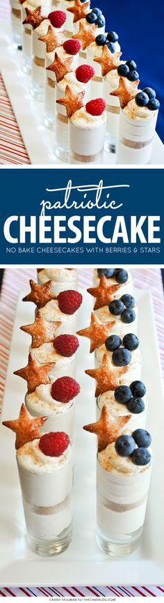 & Stripes Cheesecake Shots Patriotic No-Bake Cheesecake Shots for the of July Patriotic Desserts, 4th Of July Desserts, Fourth Of July Food, Mini Desserts, Holiday Desserts, Holiday Recipes, July 4th, Patriotic Party, Patriotic Decorations