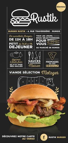 Kinda like it. Different fonts, but really simple for a burger flyer. Burger Restaurant, Restaurant Hamburger, Menu Burger, Burger Branding, Burger Co, Restaurant Menu Design, Food Branding, Restaurant Branding, Logo Food