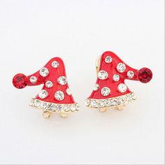 Европа и новый список Taobao горячей милые рождественские шляпы бриллиантовые серьги