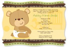 Baby Teddy Bear - Baby Shower Invitations With Squiggle Shape $1.49