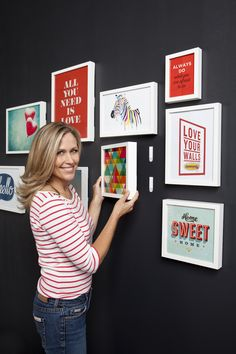 Create a removable gallery wall - great idea for rentals