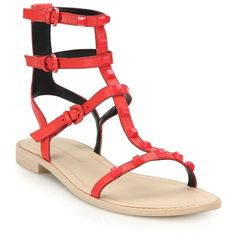 Rebecca Minkoff Georgina Studded Leather Gladiator Sandals (£105) ❤ liked on Polyvore featuring shoes, sandals, apparel & accessories, gladiator sandals shoes, ankle wrap sandals, gladiator shoes, studded sandals and rebecca minkoff sandals