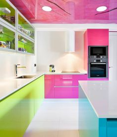 Kitchen paint color - Great ideas for using colorful decorating ideas and paint in your kitchen. with oak cabinets dark wood, white cabinets black wall popular, modern small kitchen spaces Purple Kitchen Cabinets, Kitchen Cupboards, White Cabinets, Kitchen Colour Schemes, Kitchen Paint Colors, Painting Oak Cabinets, Diy Kitchen Storage, Home Interior Design, Designer