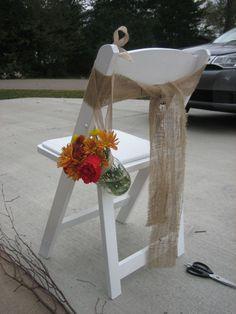 burlap chair sash and mason jar vase