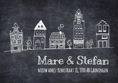 1,69 excl porto  Rij huisjes op krijtbord - Verhuiskaarten - Kaartje2go Zentangle, Chalk Talk, Hand Lettering Quotes, Blackboards, My Happy Place, Rainy Days, Line Drawing, Home Buying, House Warming