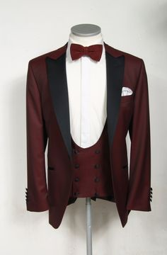 Burgundy dinner suit made to measure