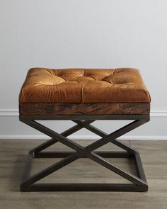 Warona+Leather+Bench+at+Neiman+Marcus. #crossleg bench cross leg stool