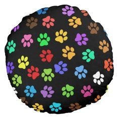 Colorful Animal Footprints Round Pillow