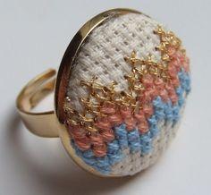 Cutest little cross-stitch rings.