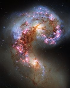 """space–bot: """"Antennae Galaxies reloadedThe NASA/ESA Hubble Space Telescope has snapped the best ever image of the Antennae Galaxies. Hubble has released images of these stunning galaxies twice before, once using observations from its Wide Field and. Cosmos, Orion Nebula, Andromeda Galaxy, Helix Nebula, Carina Nebula, Horsehead Nebula, Planetary Nebula, Hubble Space Telescope, Space And Astronomy"""