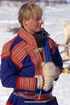 Sami man wearing traditional clothes at Easter Reindeer races