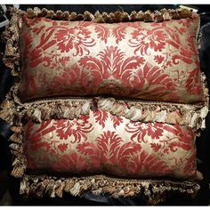 Pair Fortuny Pillows De Medici Pattern Designer Handmade Vintage ($425) ❤ liked on Polyvore featuring home and home decor