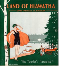 """Back cover of vintage travel brochure, """"Land of Hiawatha, Upper Peninsula of Michigan"""" US $19.99 Used in Collectibles, Souvenirs & Travel Memorabilia, United States"""