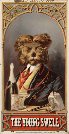 Lithograph by Hatch & Co. 218 Broadway, Herald Building, N.Y., Created in 1869 as a colorlithograph. Print of a tobacco label showing a head-and-shoulders portrait of a dog dressed as a man, facing front, wearing monocle, with a bottle of champagne, a pipe, and a bag of pipe tobacco in the foreground. Copyright by W.P. Kittredge & Co.