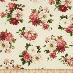 Designed by Lisa Audit and licensed to Wilmington Prints, this cotton print fabric is perfect for quilting, apparel and home decor accents. Colors include shades of green, red, rose, cream, and ivory.