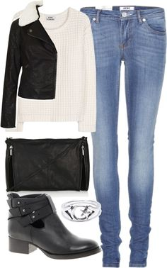 Untitled #4195 by florencia95 featuring a moto jacketAcne sweater pullover / Topshop moto jacket / Acne stretchy jeans / ASOS cut out ankle boots / Topshop genuine leather handbag / Star ring