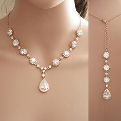 Rose Gold Backdrop Necklace, Bridal Backdrop Necklace, Wedding Jewelry, Rose Gold Necklace, Crystal Bridal Necklace