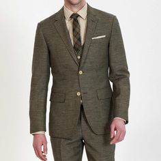 Fashion Dark Green Grain Patterns Three-Piece Suit | OWNONLY