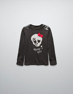 SKULL T-SHIRT WITH BOW AND STUDS