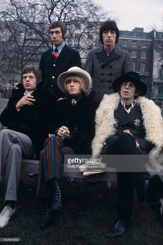 The Rolling Stones pictured together for a press call in Green Park, London on 11th January 1967. Clockwise from top left: Charlie Watts, Bill Wyman, Keith Richards, Brian Jones and Mick Jagger. Credit: Rolls Press/Popperfoto