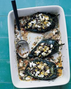 As far as chiles go, poblano peppers rank among the more mild varieties, though they still offer a nice zing. Here, they are stuffed with a hearty mixture of quinoa, mushrooms, corn, and goat cheese. To counter the spice, serve with a mixed-greens salad.