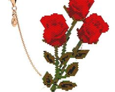 Peyote brick stitch pattern pendant and earrings Red Roses Triangle - Delica Miyuki - Tutorial pdf 926 Peyote Stitch Patterns, Bracelet Patterns, Beading Tutorials, Beading Patterns, Pattern Pictures, Triangle Earrings, Brick Stitch, Beautiful Patterns, Hand Made