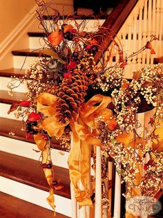Fall stairs decor