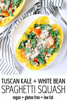 Tuscan Kale and White Bean Spaghetti Squash Bake - Vegan, Gluten Free ...