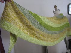 Samen by Stephen West malabrigo Lace in Pearl, Natural, Lettuce, Apple Green and Frank Ochre.