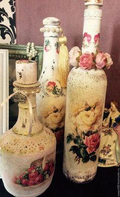 Купить Старый добрый Шебби шик - белый, шебби шик, розы, бутылка декоративная