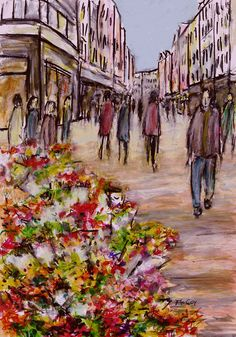 Flower Market Grafton Street – Original Fine Art: Other Description Colourful Original Fine Art Sketch of the flower market,… #IrishArt