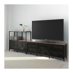 Ikea tv: fjällbo tv storage combination black 250 x 36 x 93 cm. Solid Wood Shelves, Rustic Shelves, Wood Shelf, Fjällbo Ikea, Ikea Industrial, Industrial Tv Stand, Tv Regal, Tv Bench, Tv Storage