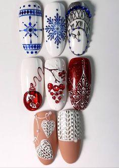 Christmas nails and winter nails Nail Art Noel, Xmas Nail Art, Christmas Nail Art Designs, Xmas Nails, New Year's Nails, Winter Nail Art, Holiday Nails, Winter Nails, Christmas Nails
