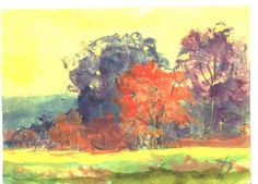 ACEO  A Warm Autumn Day aceo painting by Jim by jimsmeltzgallery