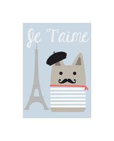 Je T'aime - I Love You - Eiffel Tower & French Cat - Valentine's Day / Birthday / Anniversary Card by FramesxAlicia