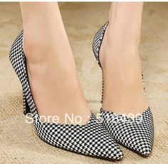 New 2013 Women Pumps High Heels Platform Shoes Fashion Plaid Sapatos Femininos Ladies Shoes Pointed Toe Size35-39 Office Shoes