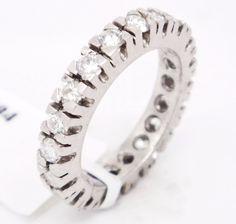 Brilliant Platinum,SI1-SI2 G-H 1.58tcw Diamonds Bezel Set Eternity Band,6.5