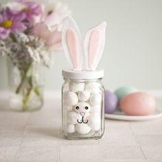 Love these jars of sweets made to look like bunnies. These would be great with the 'carrots' on another pin we have!