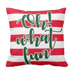 Oh! What fun Throw Pillow - Xmas ChristmasEve Christmas Eve Christmas merry xmas family kids gifts holidays Santa