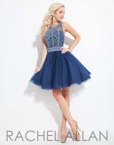 Rachel Allan 4077 Navy Homecoming Dress