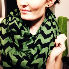 First DIY scarf of the season. Faux American Apparel Circle Scarf made with my favorite Girl Charlee chevron.