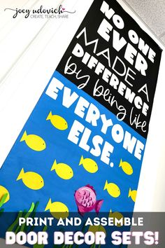 Show your students that it's wonderful to embrace our differences. Perfect for any time of the school year. Everything you need to create your own Different Door Decoration display is included. Ready to print, cut, and create. Perfect for a classroom, hallway display, school door, counselors office, and more. It's so easy to add this wonderful message to your classroom decor. #DifferentIsBeautiful #CelebrateDifferences Board Decoration, Class Decoration, Middle School Classroom, Classroom Door, Hallway Displays, School Doors, It's Wonderful, School Themes, Classroom Inspiration