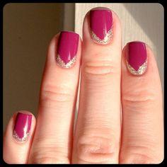 Glitter Chevron Half-Moon Manicure