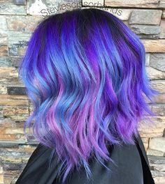 Purple, Blue and Pink Lob (long bob)